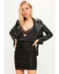 Black bonded lace patch pocket mini skirt medium 3646978