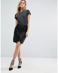 Noisy May Button Front Pu Mini Skirt With Lace Insert
