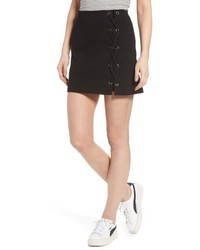 Lush Grommet Lace Up Miniskirt