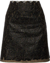 Tomas Maier Layered Coated Cotton Lace Mini Skirt