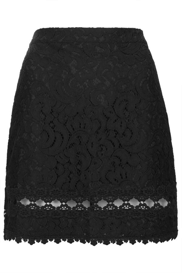 topshop black lace a line skirt with an embroidered hem