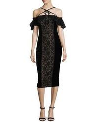 Notte velvet off the shoulder midi cocktail dress w lace medium 5146661