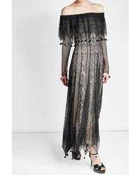 Alexander McQueen Off Shoulder Silk Lace Dress With Pom Poms