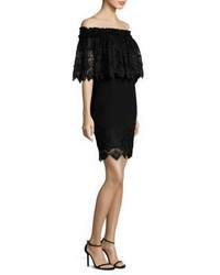 Badgley Mischka Off The Shoulder Lace Cape Dress