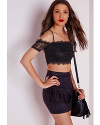 Missguided Off Shoulder Lace Bardot Bralet Black