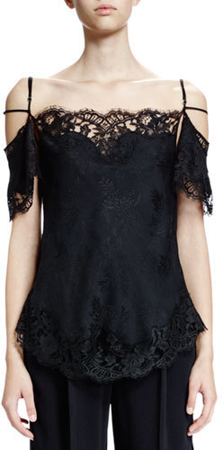 3bf610f5a02 Givenchy Off The Shoulder Lace Trim Blouse Black, $1,790 | Neiman ...