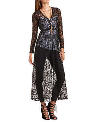 Charlotte Russe Buttoned Lace Duster Cardigan