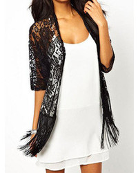 Choies black lace kimono with tassels medium 107966