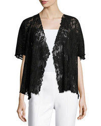 Short sleeve pleated lace crop cardigan black medium 3698334