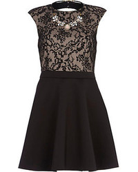 River Island Black 2 In 1 Lace Necklace Prom Dress