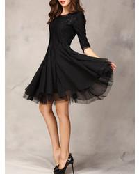 Choies black lace panel party dress medium 90590