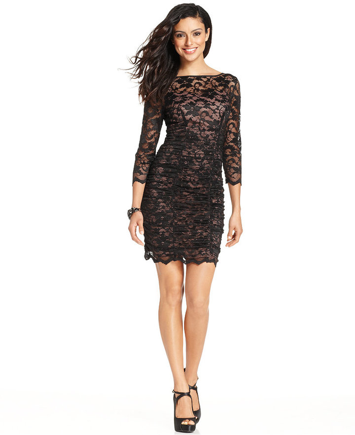 Jessica Howard Three Quarter Sleeve Ruched Lace Dress | Where to buy ...