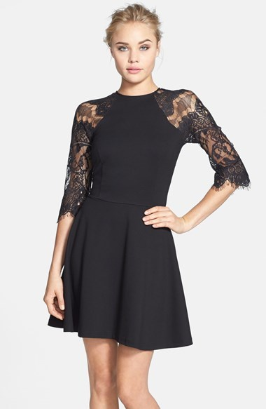Bb Dakota Yale Lace Panel Fit Flare Dress 88 Nordstrom