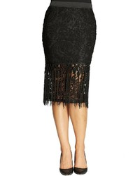Bobeau Lace Fringe Pencil Skirt