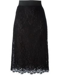Dolce & Gabbana Floral Lace Pencil Skirt