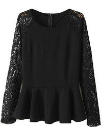 Choies black peplum shirt with lace sleeves medium 90886