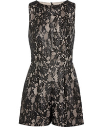 Alice + Olivia Ashleigh Lace And Satin Playsuit
