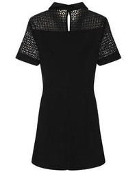Girls On Film Black Lace Panel Playsuit