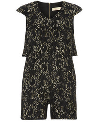 Dorothy Perkins Maya Black And Gold Lace Playsuit