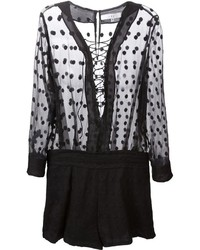 IRO Sheer Lace Up Front Playsuit