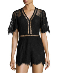 Lovers + Friends Josephine Short Sleeve Lace Romper Black