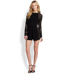 Zimmermann Lace Paneled Crepe Playsuit