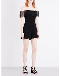 Sandro Lace Trimmed Crepe Playsuit