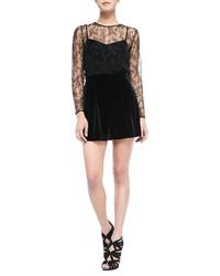 Ali Ro Long Sleeve Velvet Jumpsuit W Lace Bodice