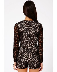 bd2cb55384 ... Missguided Andreia Lace Plunge Romper In Black ...
