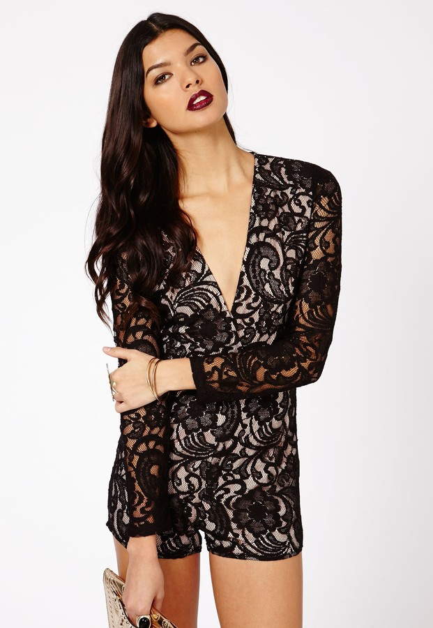 missguided andreia lace plunge romper in black where to buy how to wear. Black Bedroom Furniture Sets. Home Design Ideas