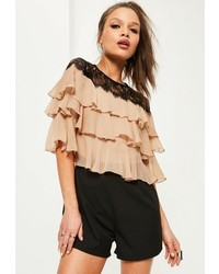 Missguided Black Lace Frill Sleeve Playsuit