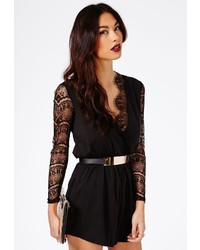 1bafb31ab05a ... Missguided Ocina Lace Detail Wrap Romper In Black