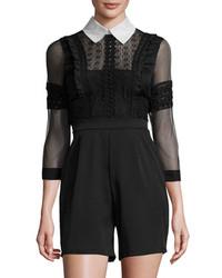 Spread Collar Lace Playsuit