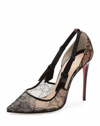 Christian Louboutin Hot Jeanbi Lace 100mm Red Sole Pump Version Black