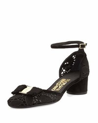 Salvatore Ferragamo Enny Lace Dorsay 40mm Pump Black