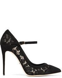 Dolce & Gabbana Suede Paneled Corded Lace And Mesh Pumps Black