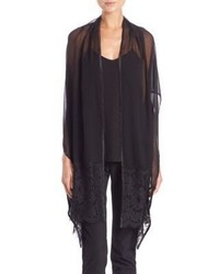 Harrison Morgan Lace Trim Silk Shawl