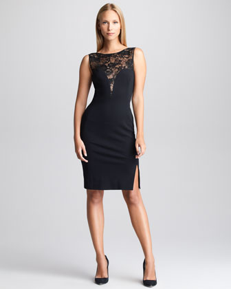 Emilio Pucci Black Dresses Lace Yoke Sheath Dress Black