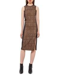 Akris Lace Front Sleeveless Sheath Dress Black
