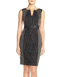NYDJ Lexie Mixed Media Sheath Dress Size 14 Black