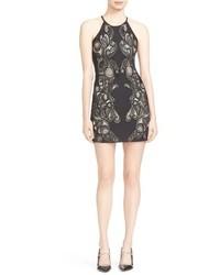 Parker Jaden Open Back Lace Inset Sheath Dress