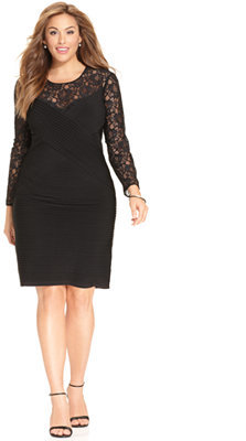 $154, Calvin Klein Plus Size Long Sleeve Lace Sheath
