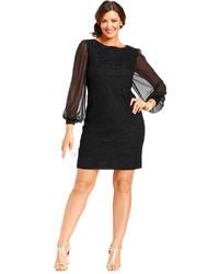 $109, Sl Fashions Plus Size Dress Long Sleeve Lace Sheath