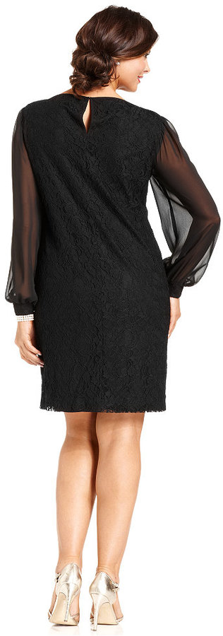 42d210b66345 Sl Fashions Plus Size Dress Long Sleeve Lace Sheath, $109 | Macy's |  Lookastic.com