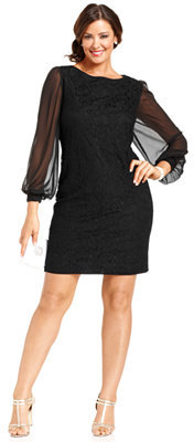 $109, Sl Fashions Plus Size Dress Long Sleeve Lace Sheath