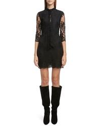 Saint Laurent Tie Neck Scallop Lace Sheath Dress