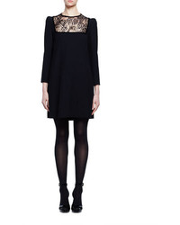 Alexander McQueen Long Sleeve Lace Inset Shift Dress Black