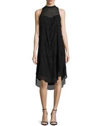 Haute Hippie Romance Sleeveless Lace Trim Shift Dress Black