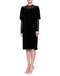 Dolce & Gabbana Lace Inset Gathered Neck Shift Dress Black