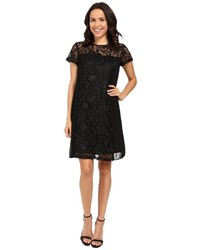 Adrianna Papell Lace Shift Dress W Pleated Side Panels